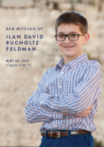 Bar Mitzvah Benchers boy with glasses
