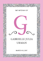 pink and glitter bencher girl for a Bat Mitzvah