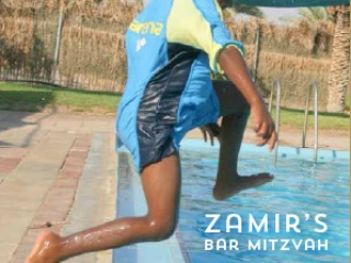 Bar Mitzvah Bencher. boy jumps in the pool in summer