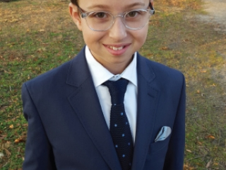Bar Mitzvah Bencher with a picture of boy with a suit